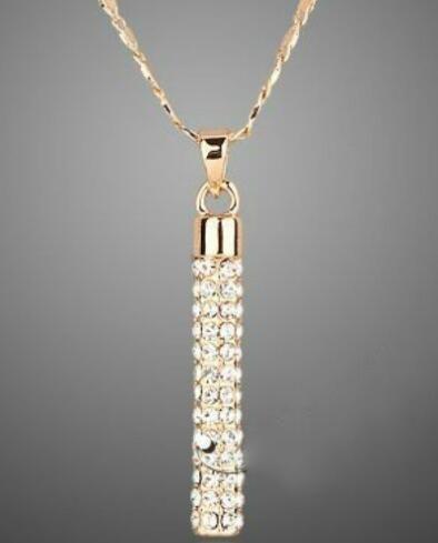 18K altın kaplama elmas küpe kolye kolye Kadınlar Düğün için Set Marka Eleman Moda Rhinestone Mücevher ayarlar