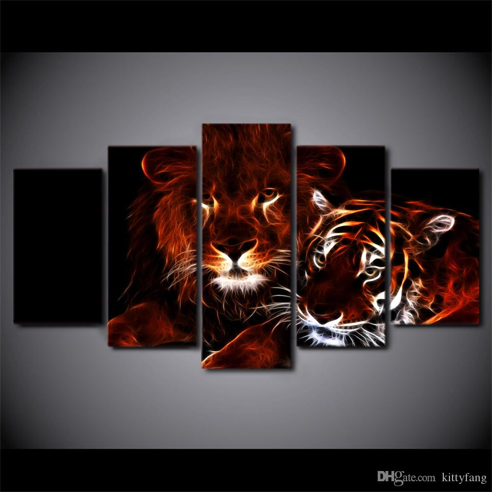 Framed HD Printed glowing lion and tiger Wall Art Canvas Print Poster Canvas Pictures Abstract Oil Painting