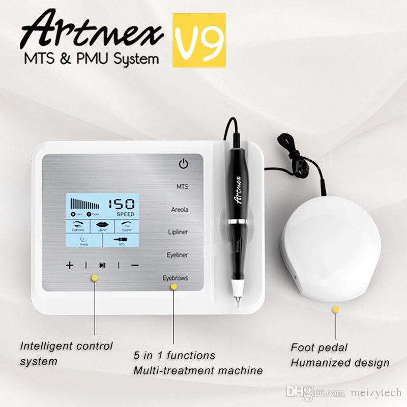 2018 Nouvelle Arrivée Artmex V9 Numérique 5 en 1 Maquillage Permanent Machine De Tatouage Yeux Rotary Pen MTS PMU