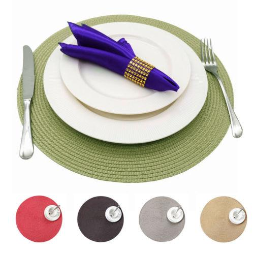 Round Table Placemats.Fashion Jacquard Weaved Round Non Slip Placemats Dining Table Mats 4 6 8pcs Lot