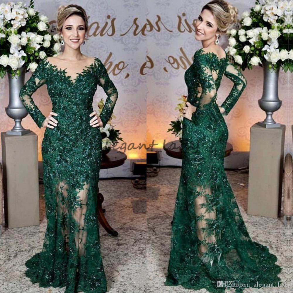 Compre Glamorosa Vestidos De Noche De Color Verde Esmeralda Apliques De  Encaje De Moda Sirena De Manga Larga Vestido De Fiesta Por Encargo Ver A  Través De ... 7617d1aff66