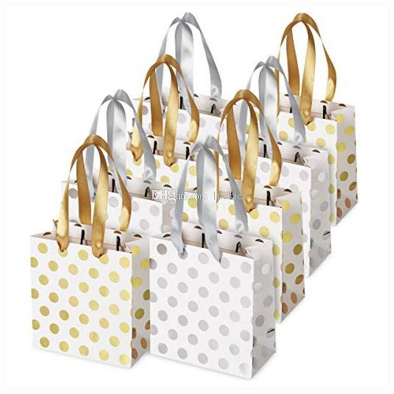 2019 Small Gift Bags With Ribbon Handles Gold Mini Gift