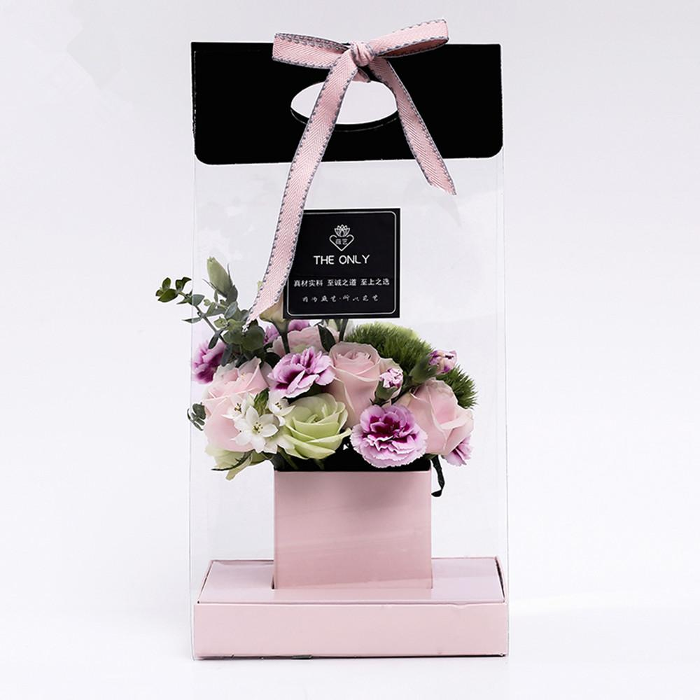 Clear Flower Packaging Bag Handled Florist Bouquet Gift Paper Boxes