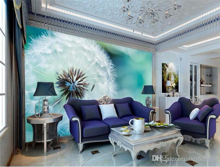Custom Photo Wallpaper 3D Stereo Large Murals Abstract dandelion living room sofa bed bedroom flash silver cloth wallpaper