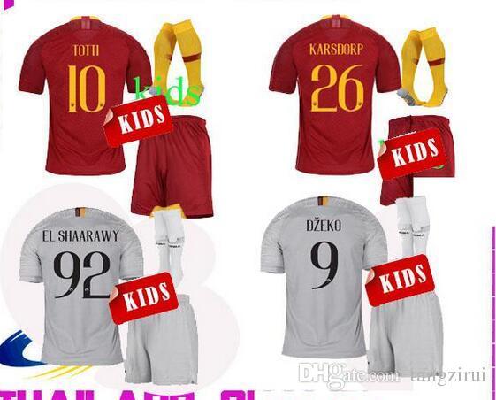 2d73adf718b 18 19 RoMA Kids Soccer Jerseys DZEKO Home Red DE ROSSI EL SHAARAWY ...