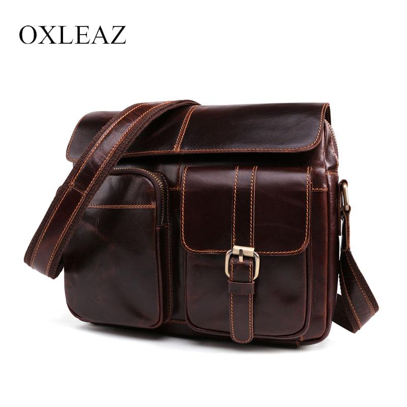 1278f6279925 OXLEAZ Fashion Brand Male Shoulder Messenger Bag Men Oil Wax Genuine  Leather Small Bags Casual Sling Crossbody Bag for Man