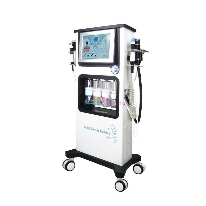 جديد 7 في 1 الأكسجين آلة المياه co2 فقاعة الوجه تنظيف هيدرا الوجه الأكسجين رذاذ بندقية هيدرو جلدي led ضوء العلاج آلة