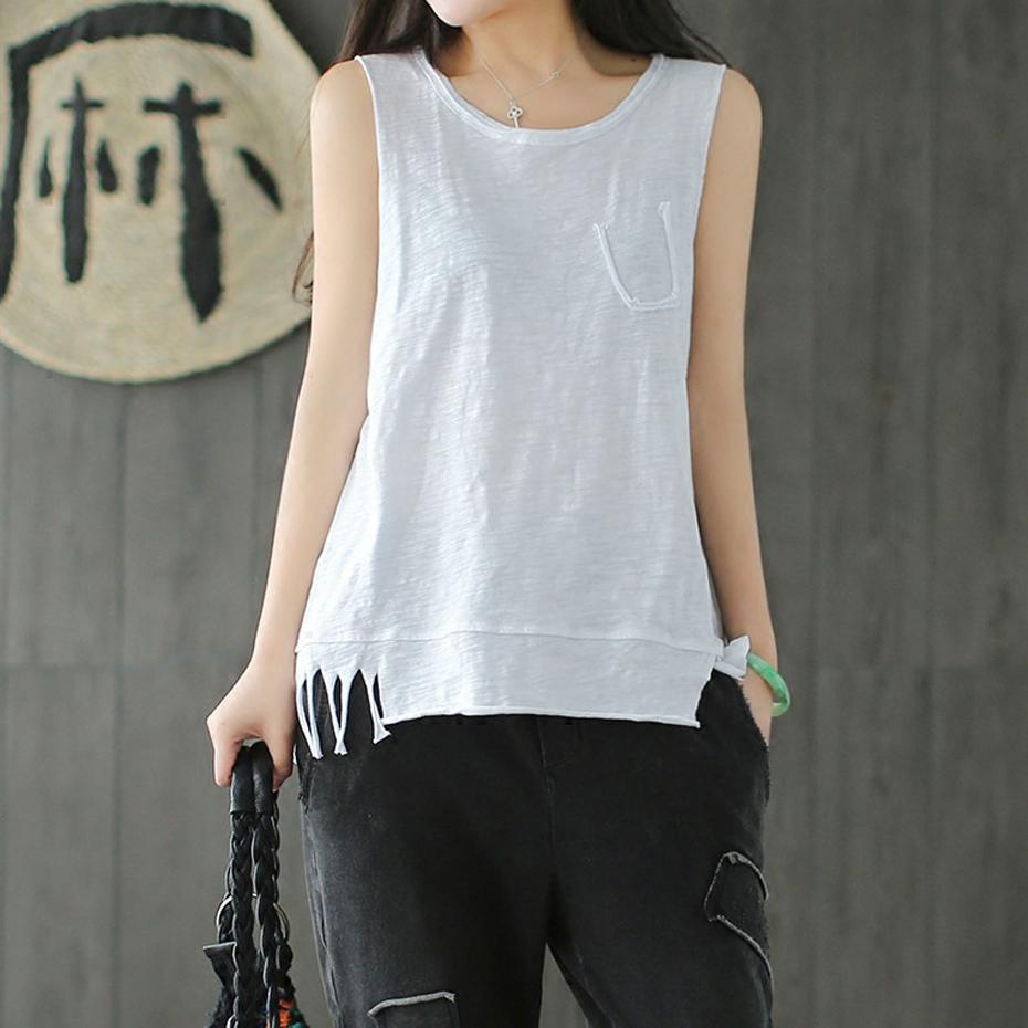 7b3b2903184b9 2019 Bamboo Fiber Fabric Tees Tanks Tops T Shirt Sleeveless For Women  Summer Fashion Casual Sexy Loose Elegant White 80723 From Manxinxin