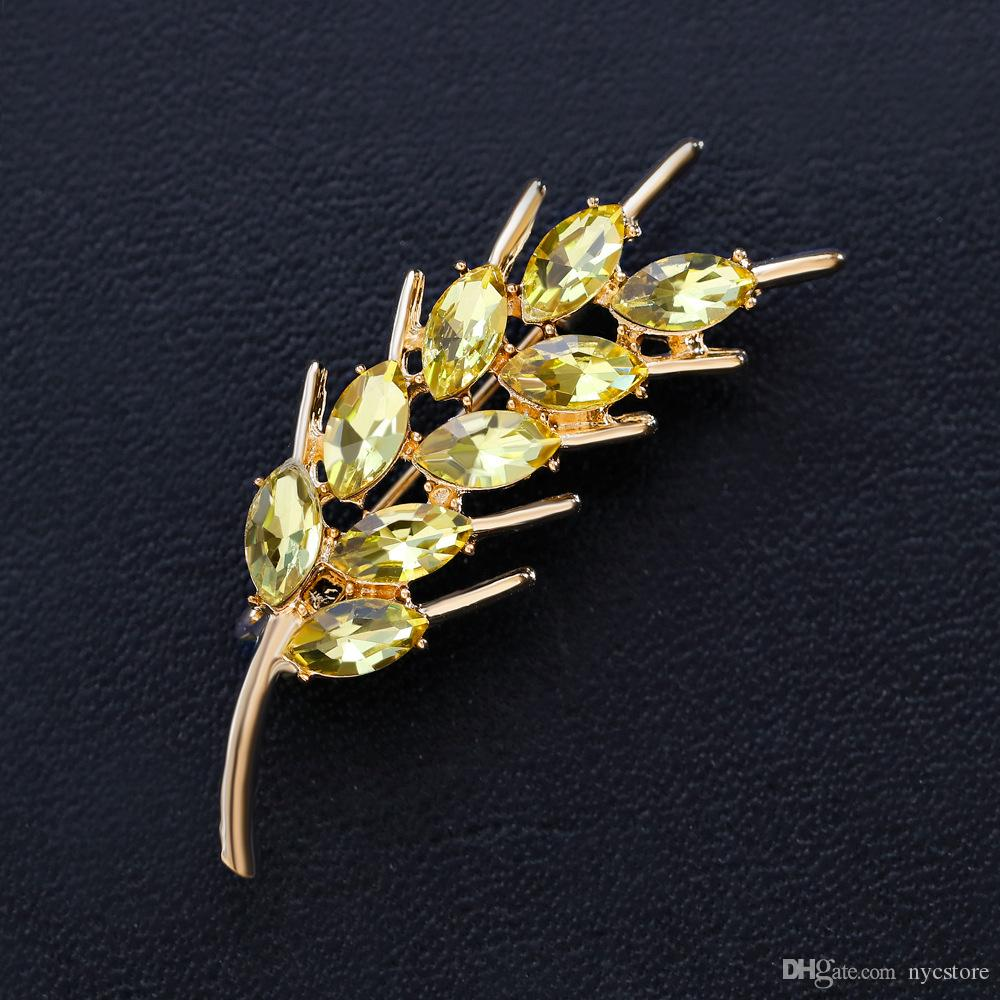 Gold Copper Wheat Brooches for Women Yellow Crystal Zircon Brooch Fashion Wedding Broche Gift Scarf Pins