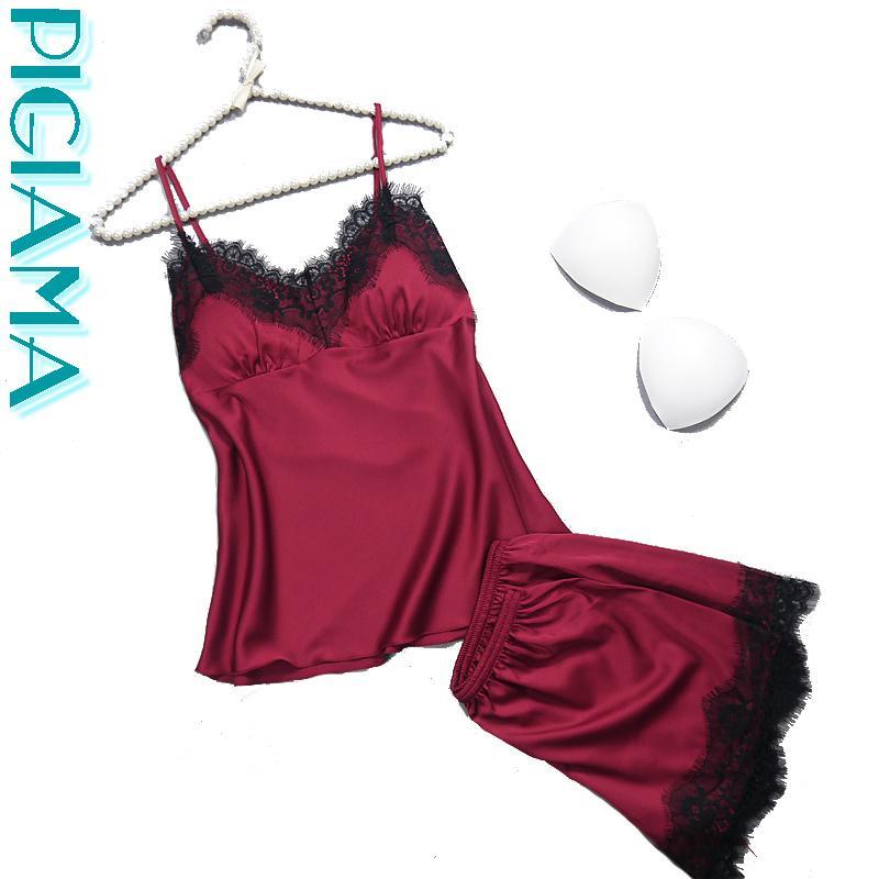 40ce18b47 Marcas De Pijamas Mulheres Pijamas Com Sexy Lace 4 Cores De Cetim De Seda Pijamas  Lingerie Pijama Senhoras Nighties Babydolls Conjunto De Pijama Para As ...