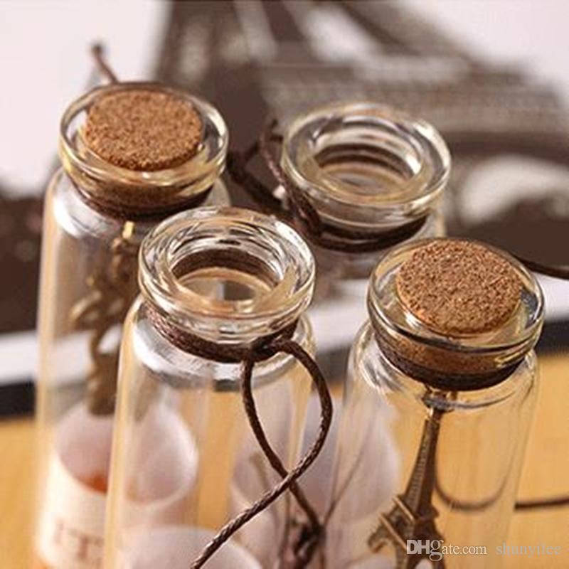 mini clear glass cork stopper wishing bottles vials jars containers small vintage ornaments craft decoration F20172862