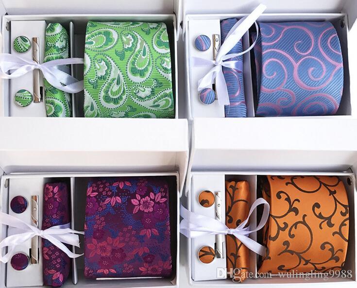 15 стили мода Gravata галстук носовой платок галстук клипы запонки наборы Пейсли галстуки набор галстуки для мужчин Бизнес галстуки свадебные галстуки набор