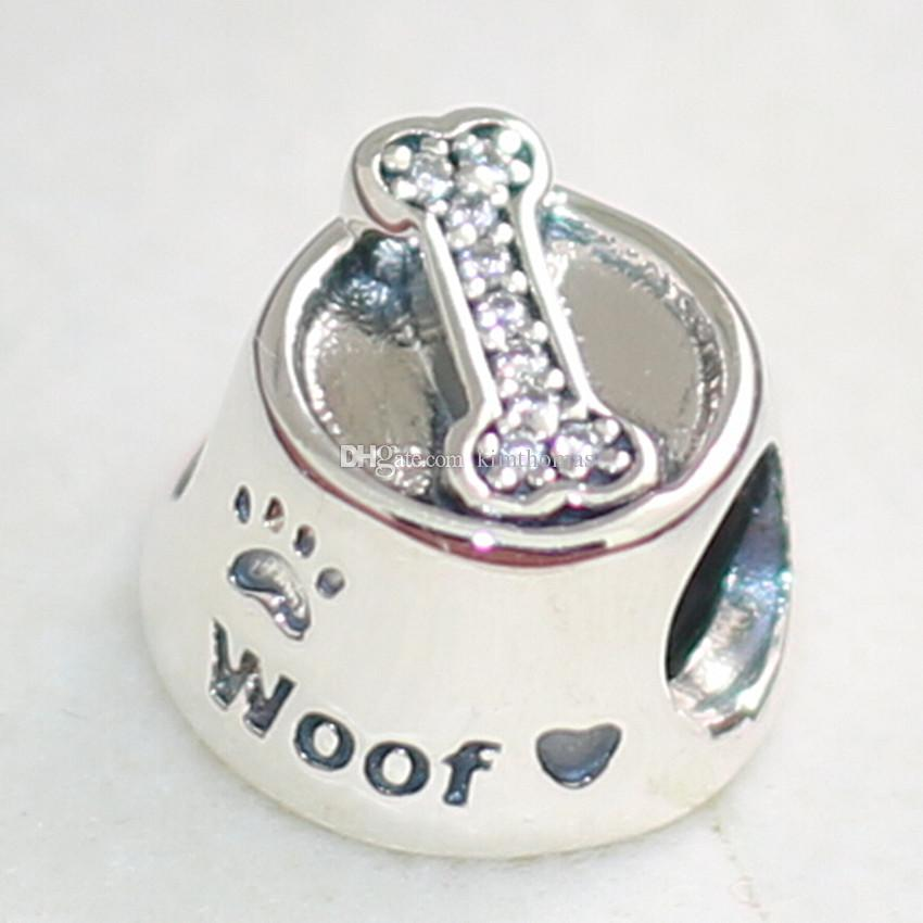 925 Sterling Silver Devoted Dog and Woof Charm Bead adapta European Pandora Style Jewelry pulseras collares colgantes