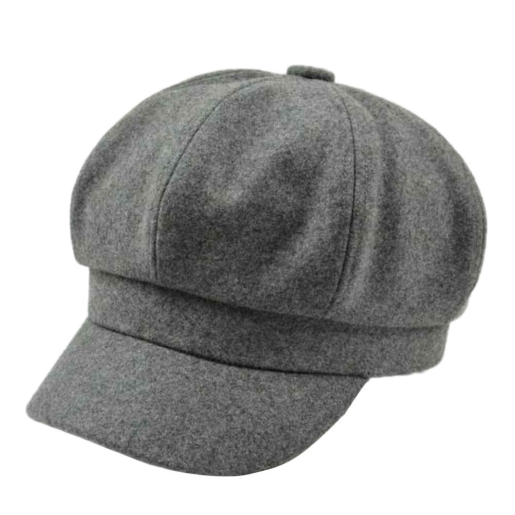 2d2116be New Retro Autumn Winter Women Girl Faux Wool Solid Color Peaked Cap ...