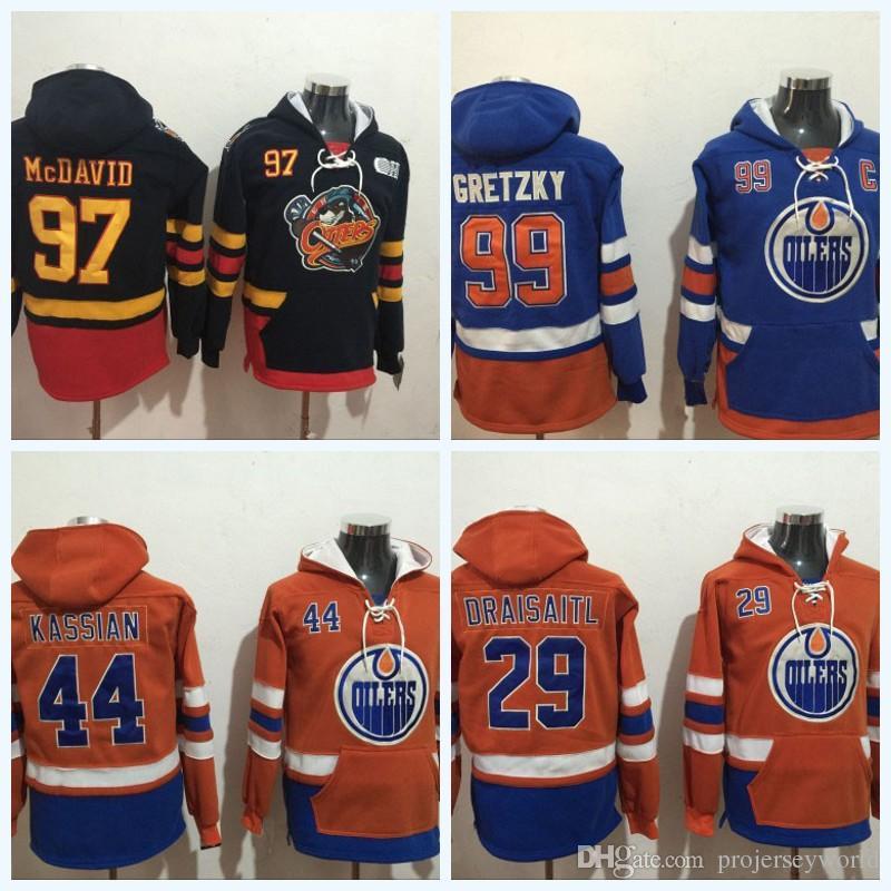 promo code b6706 fbd8a Edmonton Oilers Hoodie Sweatshirts 97 Connor McDavid 29 Leon Draisaitl 99  Wayne Gretzky 44 Zack Kassian Ice Hockey Jersey All Stitched