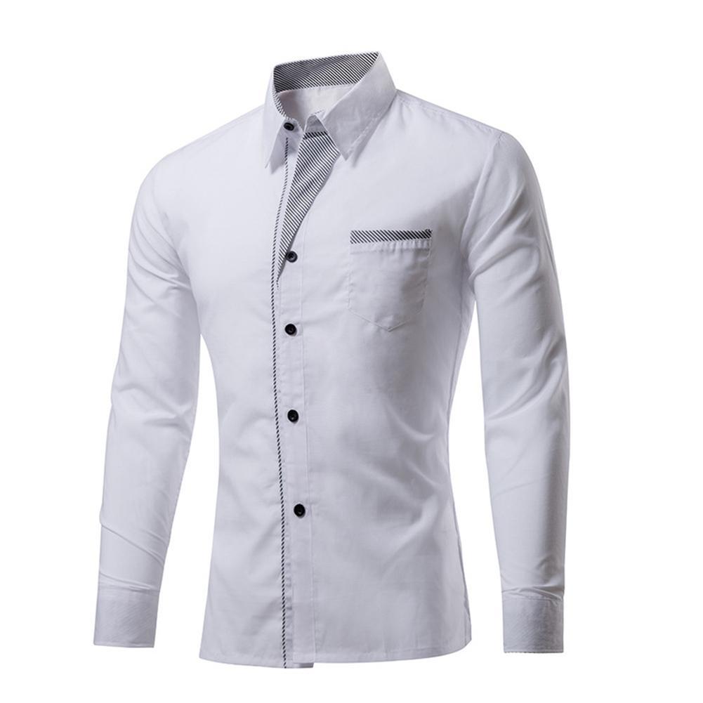 Compre YJSFG CASA Moda Camisas Masculinas Plus Size 4XL Camisa De Manga  Longa Dos Homens De Design Fino Formal Elegante Casual Camisas De Vestido  Sarja Top ... 1b3ea6a7613c6