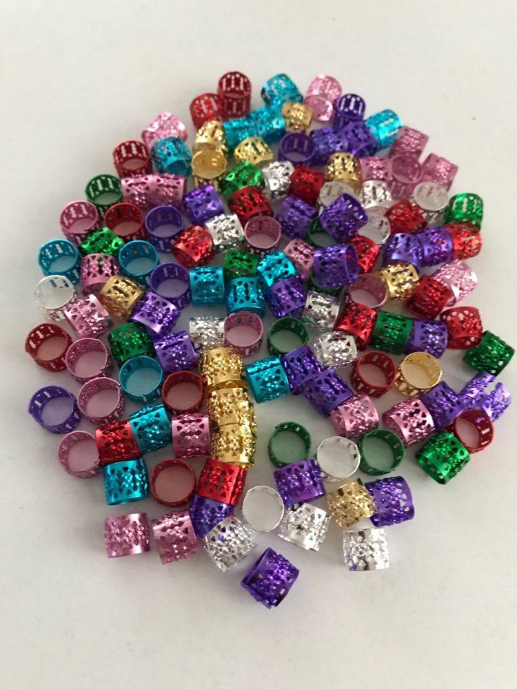 الجمال الفضة الذهبي الأزرق الأخضر الأحمر الوردي الأرجواني 100 قطعة / الوحدة dreadlock الخرز قابل للتعديل الشعر جديلة صفعة كليب 8 ملليمتر أنبوب معدني قفل