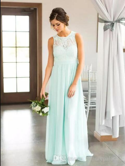 2018 Mint Green Lace Country Bridesmaids Dresses Long Sheer Jewel Neck Chiffon Wedding Guest Dress Floor Length Cheap Maid Of Honor Gowns