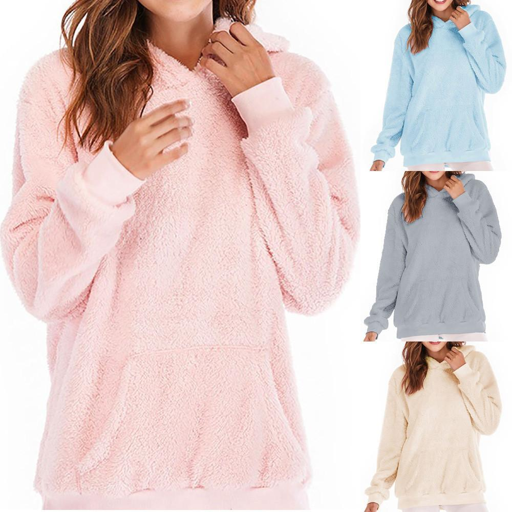 Mujeres sudadera con capucha abrigo 2019 invierno cálido de lana con cremallera bolsillos chándal sudaderas con capucha Jumper algodón Outwear