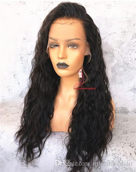 150% density side part wet wave bob human hair lace front wig natural water wave