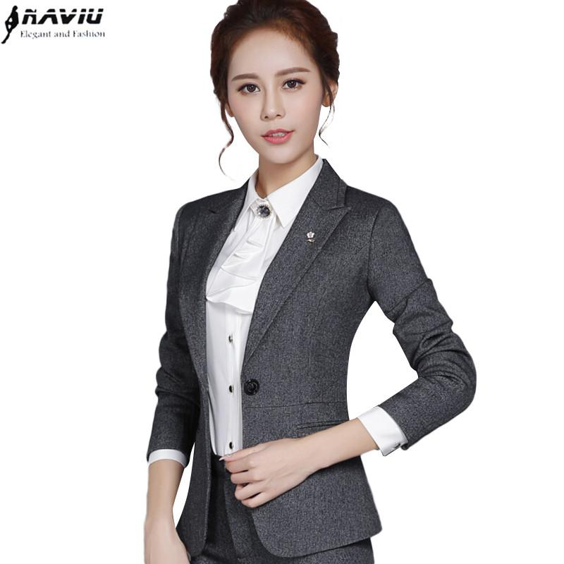2016 Fashion autumn female blazer outerwear slim formal plus size black gray long sleeve jacket office ladies work wear