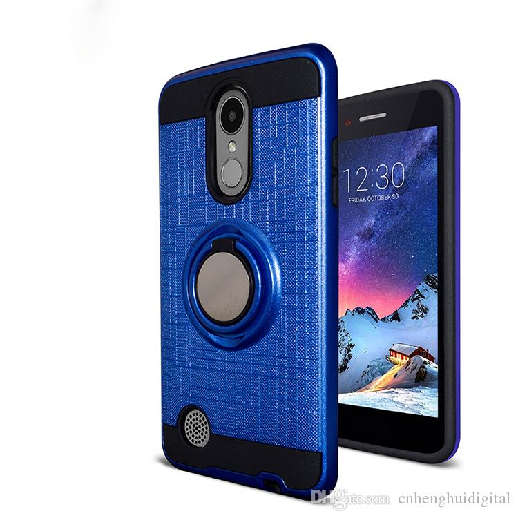 super popular 7b505 4fb26 For Alcatel 7 LG Q7 plus Metropcs PC TPU Hybrid Defender Brushed Metal Cell  Phone Case With Ring Kickstand Cover Low Price