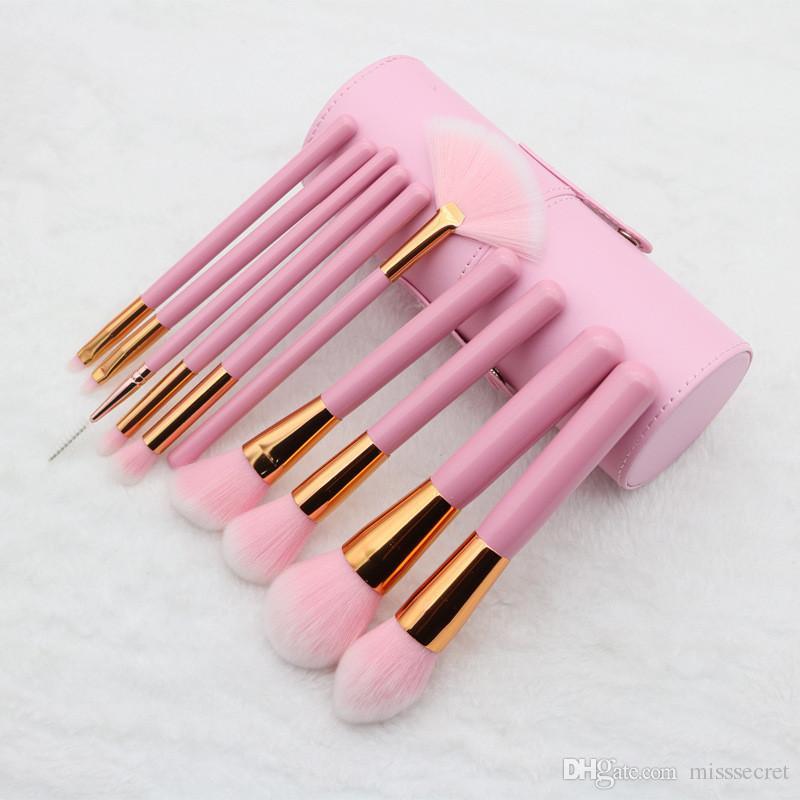 10 Pz Pennelli trucco Set manico in legno rosa EyeShadow Foundation Ciglia Pennelli trucco Pennello cosmetico Set maquiagem