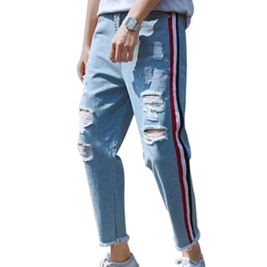 7e40cc261b28c 2019 Vintage Ripped Denim Jeans Men 2018 Loose Plus Size Side Striped Hip  Hop Men Jeans Streetwear Blue Roupas Jean Hombre Clothes N2 From Cute08