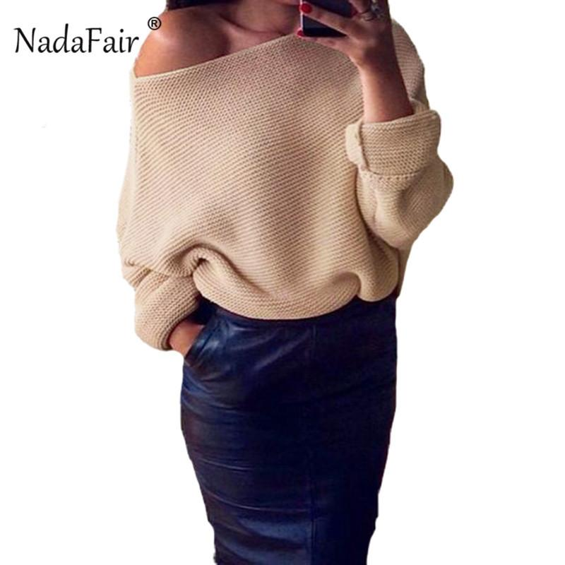edc07974d1db Nadafair Sexy Off Shoulder Loose Knitted Sweater Women 2018 Autumn ...