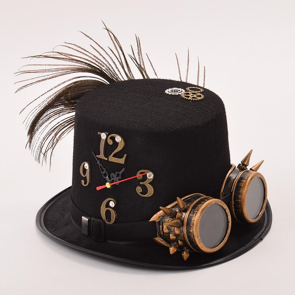Compre Homem   Mulher Unisex Preto Punk Fedora Óculos Engrenagem Relógio  Deco Cartola De Boiline ce93a057dd8