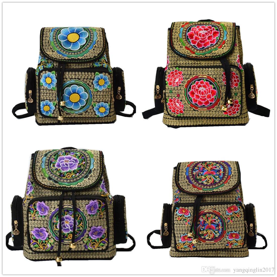 260dd124926e Women Travel School Backpack Bookbag Tote Purse Bag Embroidered bag  handbags embroidery canvas backpack large capacity female student bag ba