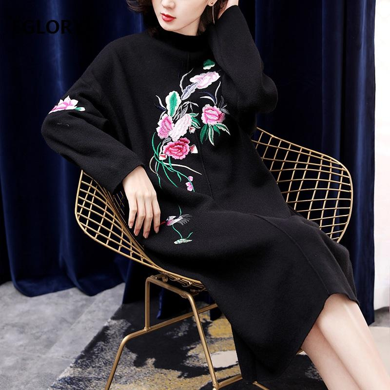 ba47edf1fcb6 2019 High Quality Brand New Long Sweater Dress Autumn Winter Dress Women  Stand Neck Floral Embroidery Knitting Vintage Loose From Pileilang, ...