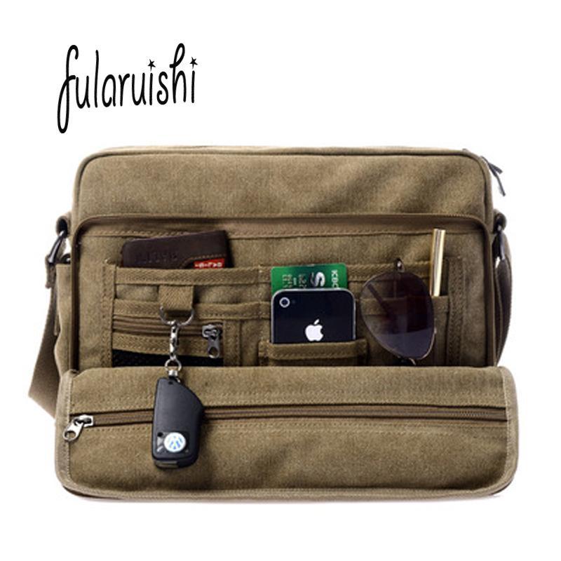 FULARUISHI Retro Men Shoulder Bag Business Canvas Messenger Bags For Man  Tote Handbags Casual Travel Bag Vintage Man WH337 Handbags On Sale Shoulder  Bags ... 272fc5874f9d4