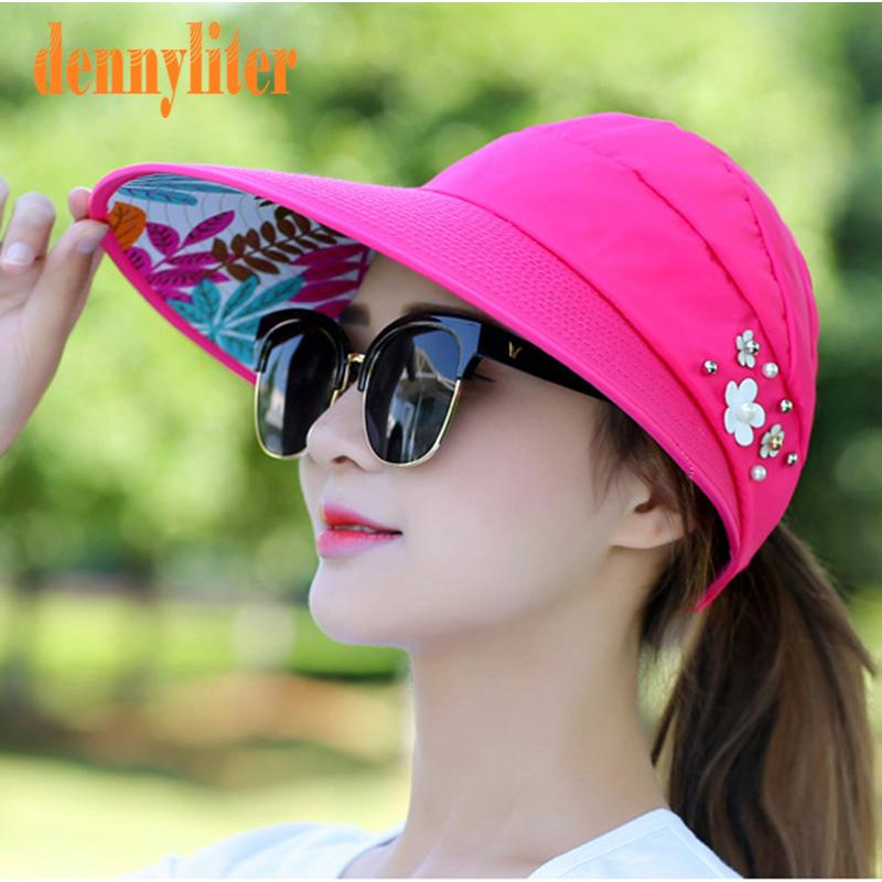 cc78326f DENNYLITER 2018 New Wide Brim Flower Beach Sun Hat For Women Female  Foldable Visor Anti UV Protection Hats Adjustable Summer Cap Bucket Hat  Fedora Hat From ...