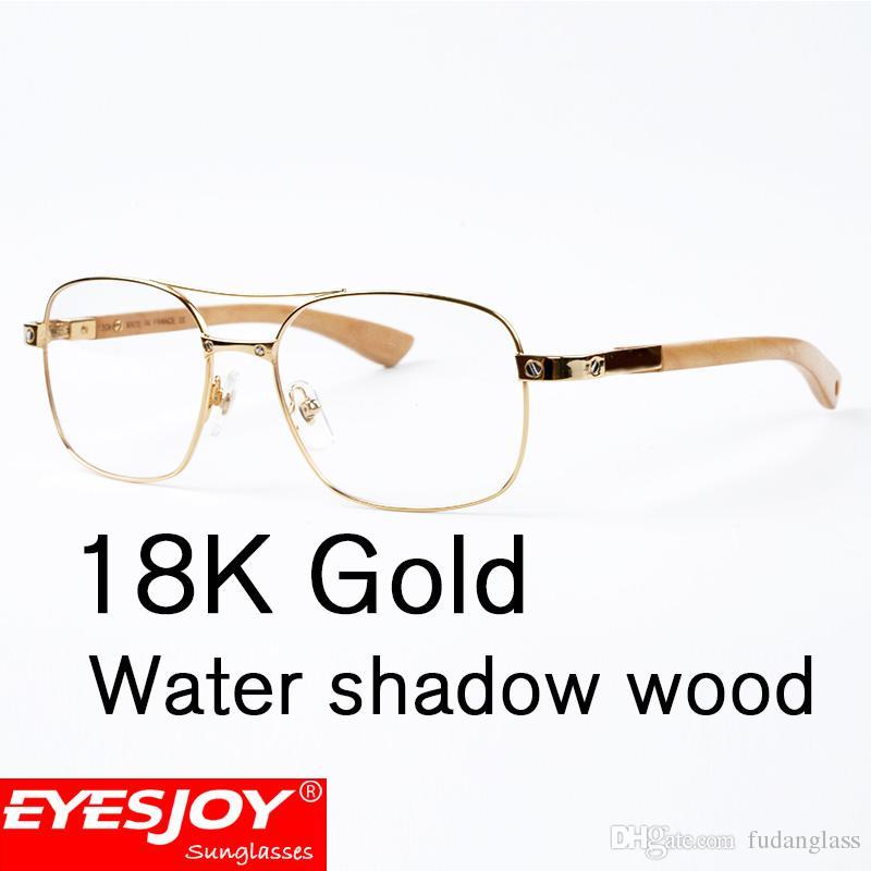 Water Shadow Wood Eyeglasses Metal Frames Fashion Luxury Men Glasses ...