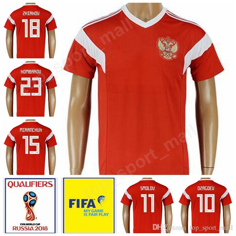 37a606938cb 2019 Russia Football Shirt Kits 2018 World Cup Russia 18 ZHIRKOV Soccer  Jersey 28 SMOLNIKOV 21 EROKHIN 15 MIRANCHUK 13 JIKIA 8 GLUSHAKOV 7 POLOZ  From ...