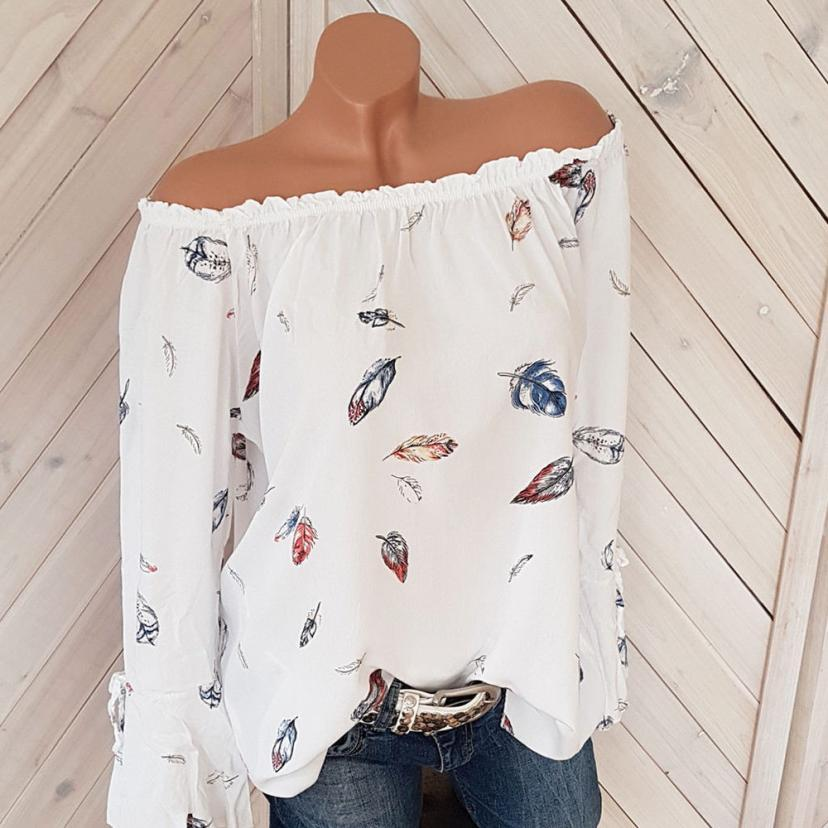 f537c2de262a9a 2019 Plus Size 5XL Off The Shoulder Floral Print Blouse Shirt Women 2017 Long  Sleeve Loose Boho Beach Tops Oversized Blusas#GHC From Berniceone, ...