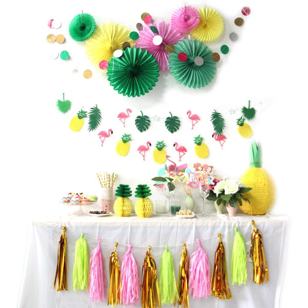 2019 Flamingos Theme Hawaiian Party Decorations Summer Party Decor F