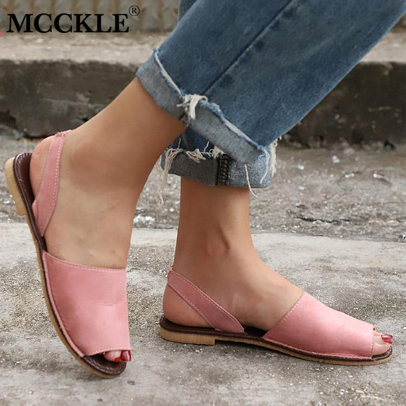 b91dbad6e28104 MCCKLE Summer Sandals Women Plus Size Flats Female Casual Peep Toe Shoes  Faux Suede Slip On Elastic Band Leisure Solid Footwear Leather Sandals  Wedding ...