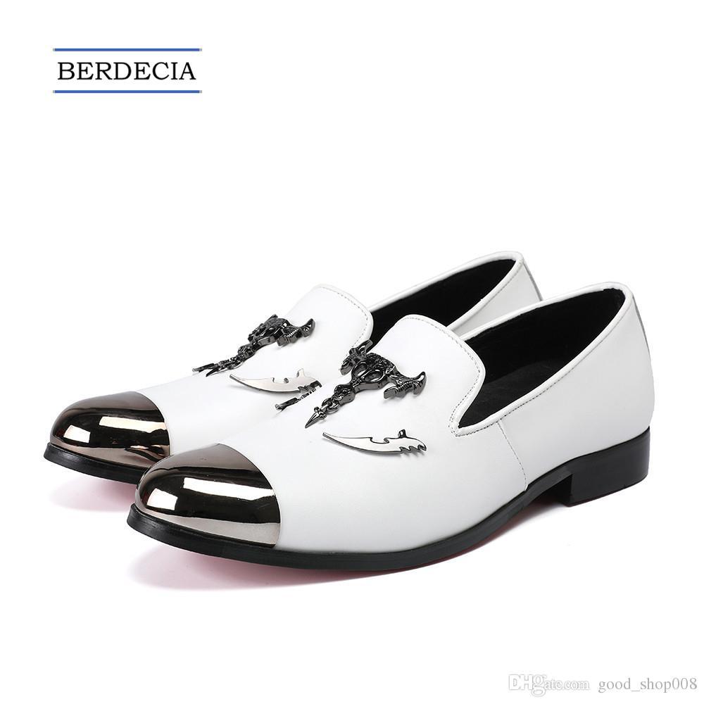 e3408b3176fc 2018 New Fashion Designer Buckle Metal Toe Men Loafers White Genuine ...