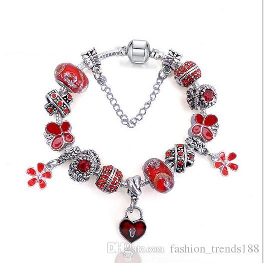 d44101f44 925 Sterling Silver Red Murano Glass Beads Charm Flower Love Heart Pendant Bead  Fit Women Pandora Bracelet Bangle Diy Jewelry Christmas Gift Charm Bracelets  ...