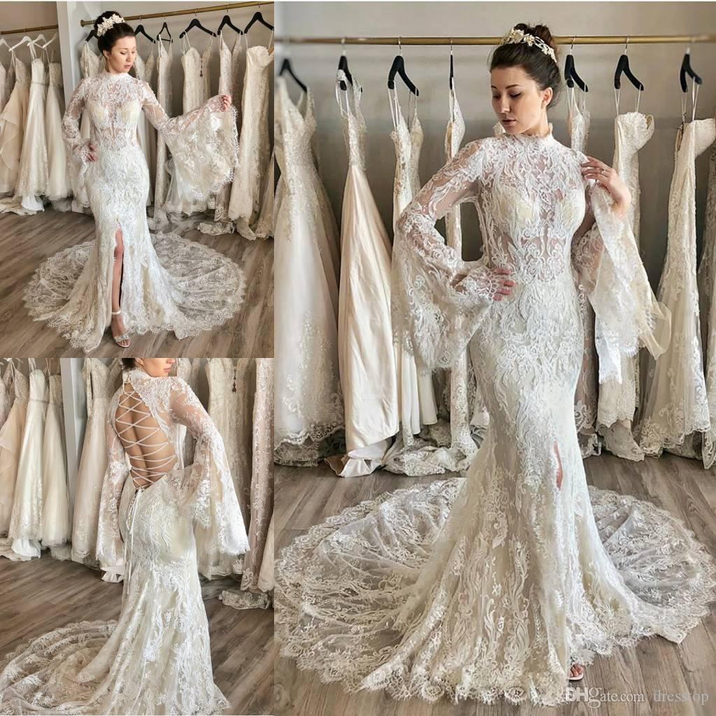 2e6e3c7ee7 Fabulous Lace Mermaid Wedding Dresses High Neck Long Sleeve Bridal Gown  Sweep Train Lace Up Back Beach Wedding Dress Plus Size Simple Wedding Dress  Black ...