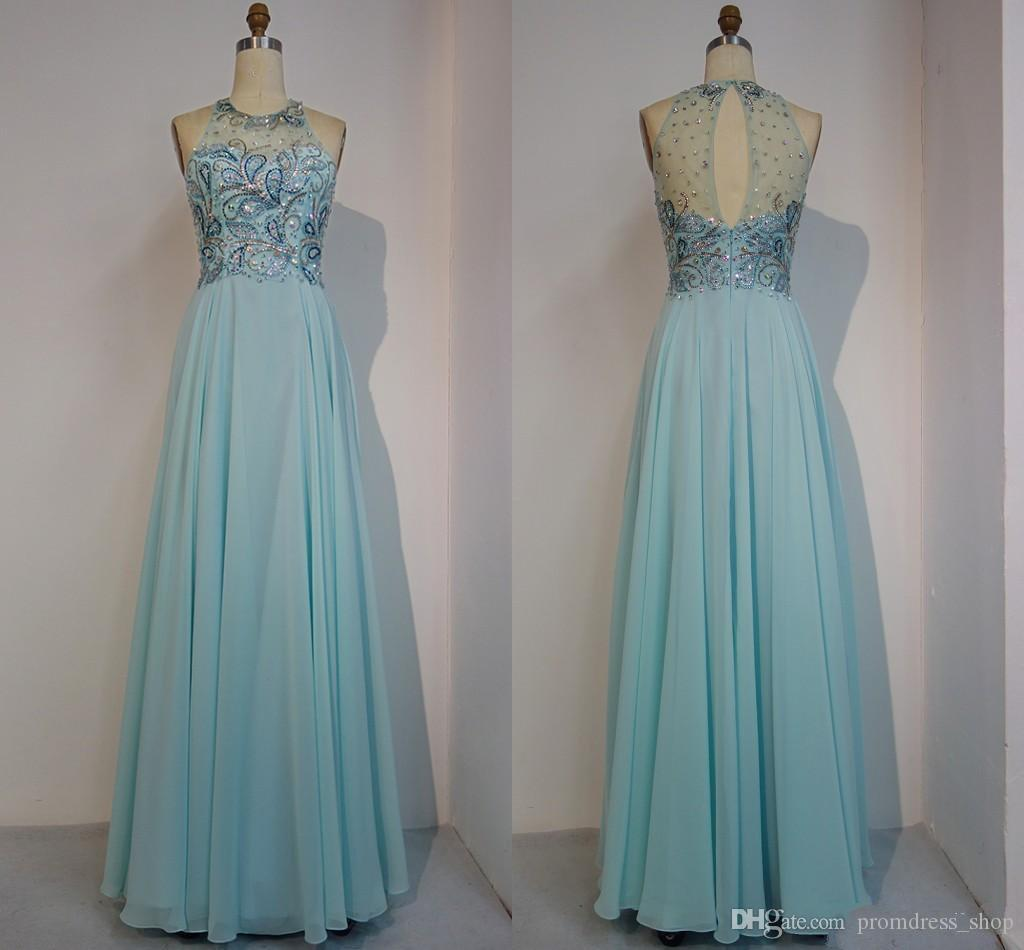 2019 New Designer Light Sky Blue Prom Dresses Long Chiffon Cheap Jewel Neck  Beads Sequined Illusion Back Evening Gowns Formal Dress Women Formal  Dresses 8th ... 991d6c59a0d3