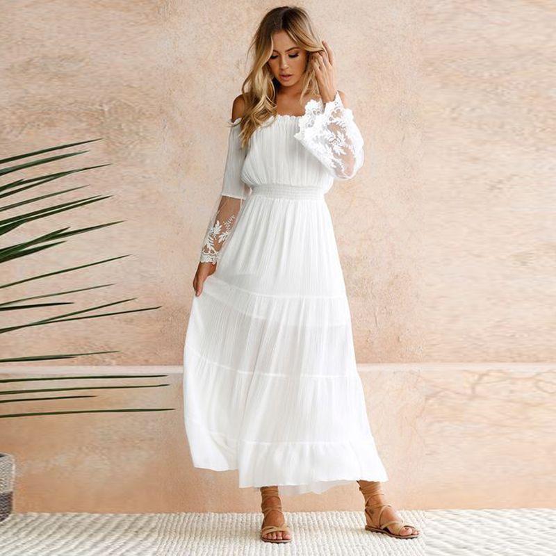 8092e6537 Compre Elegante Encaje Blanco Túnica Verano Maxi Dress Mujeres Slash Cuello  Sin Tirantes De Manga Larga Beach Boho Vestido Largo Vestidos Vintage  Vestidos A ...