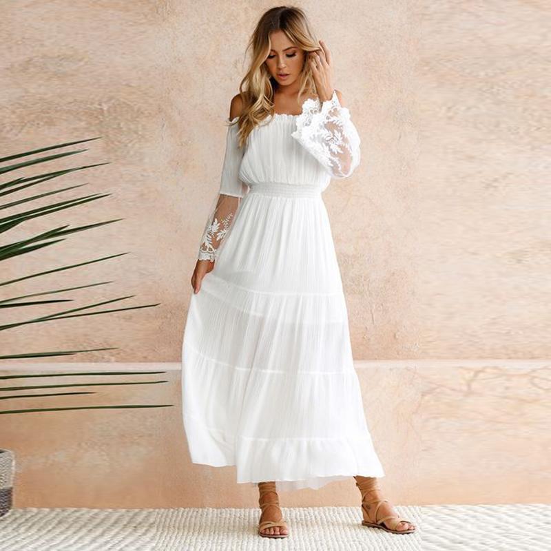 Sommer Großhandel Kleid Spitze Weiß Tunika Frauen Elegante Maxi DH2IWE9