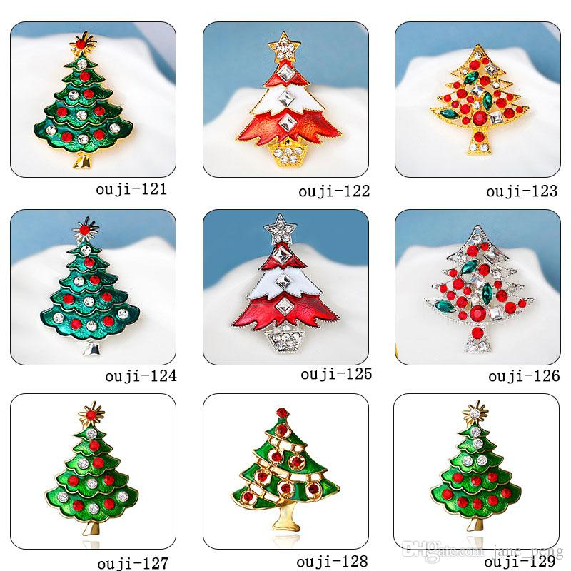 2018 Christmas Tree Wreath Bell Crystal Brooches Pins For Kids X\'Mas ...