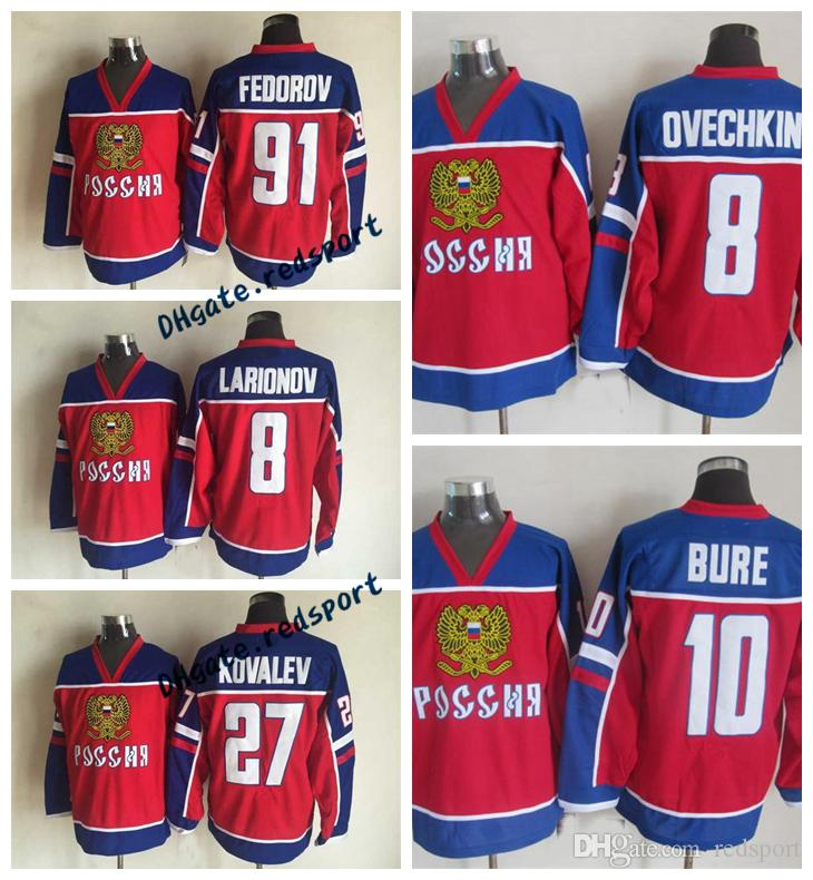 882dd044b 2019 Mens Russia 8 ALEXANDER OVECHKIN 10 PAVEL BURE 91 SERGEI FEDOROV 27  ALEX KOVALEV 8 IGOR LARIONOV 2002 Team Russia Olympic Hockey Jersey From  Redsport, ...