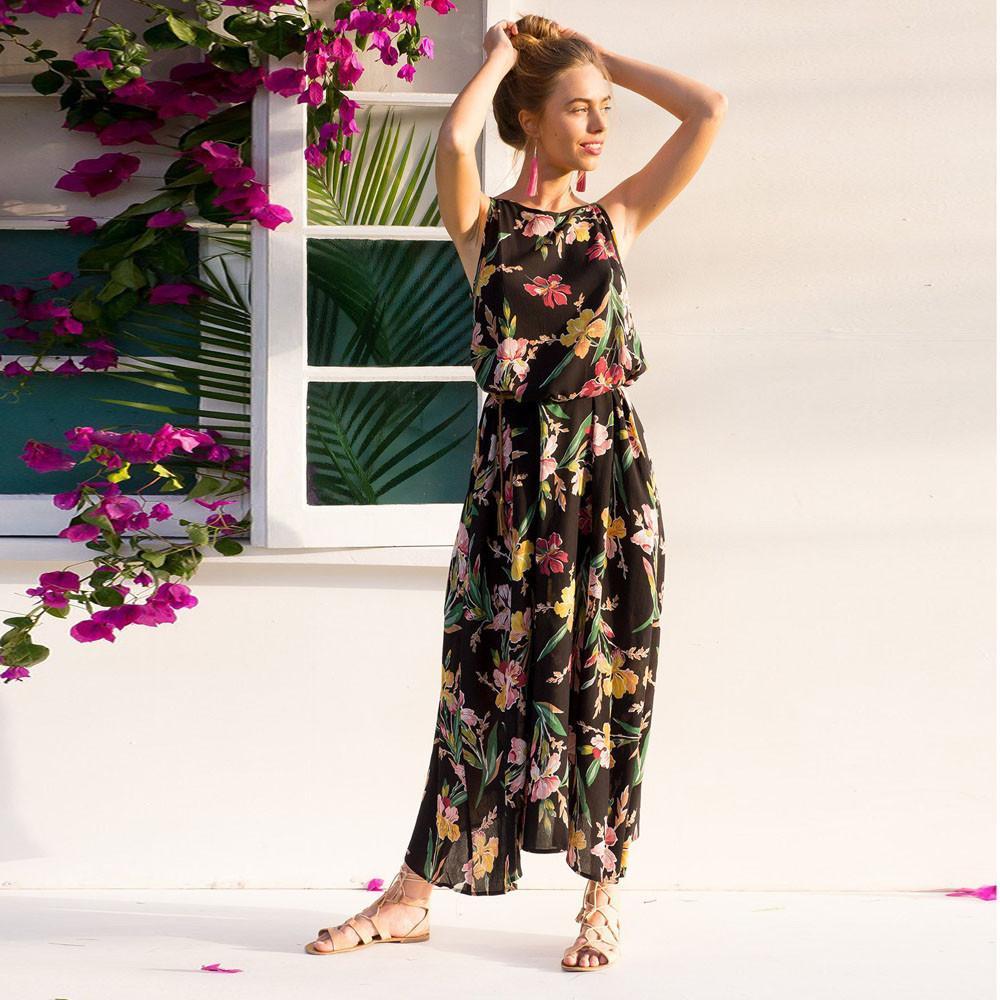 3280671850bf2 New 2018 Women Maxi dress Boho Floral Summer Beach Long Dresses high  quality Party Dresses Robe Longue Femme