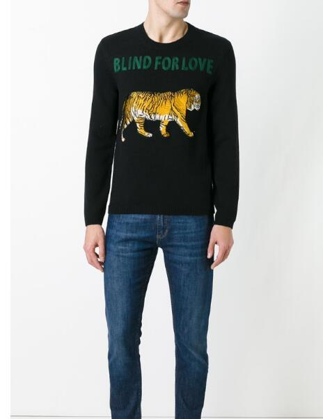 17e0546922cc Embroidered Tiger Sweater Mens Winter Warm Round Neck Long Sleeve ...