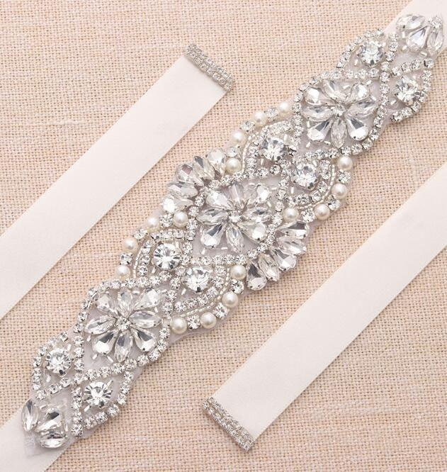MissRDress Pearls Wedding Belt Rhinestones Belt bridal gown belts Silver Crystal Bridal Belt for Wedding gown YS837